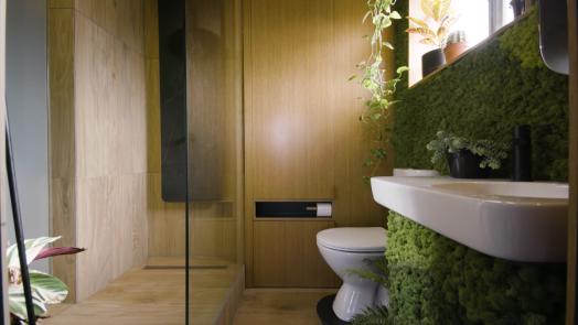 Banheiro com decoraçāo e plantas